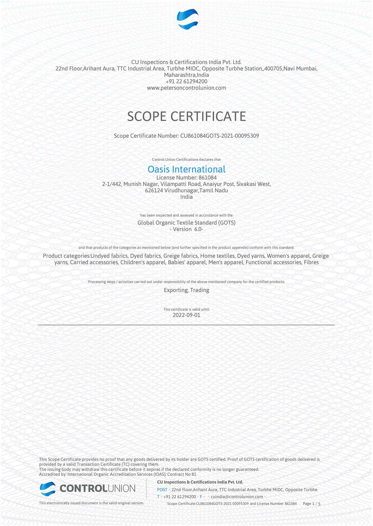 Oasis International Scope Certificate